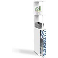 Meuble WC étagère 2 portes motif carreaux de ciment bleu