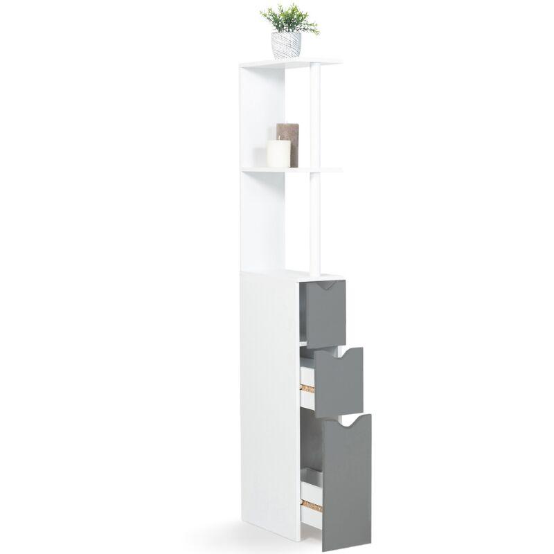Meuble WC étagère bois 3 portes blanc et gris gain de place pour ...