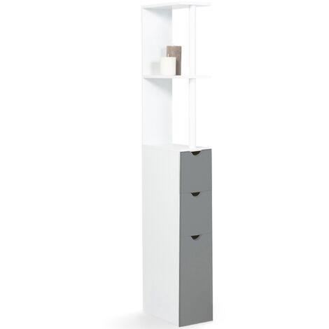 Meuble WC étagère bois 3 portes blanc et gris gain de place pour toilettes
