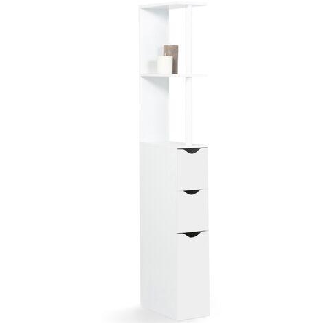 Meuble WC étagère bois 3 portes blanc gain de place pour toilettes