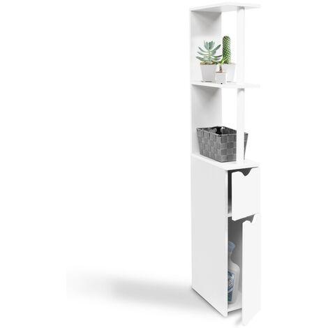 Meuble WC étagère bois gain de place pour toilette 2 portes blanches
