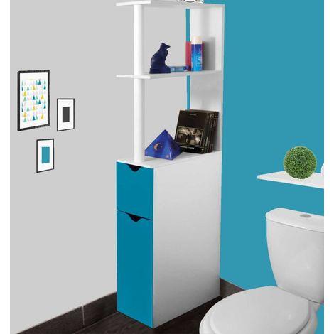 Meuble WC étagère bois gain de place pour toilette 2 portes bleues