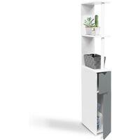 Meuble WC étagère bois gain de place pour toilette 2 portes grises