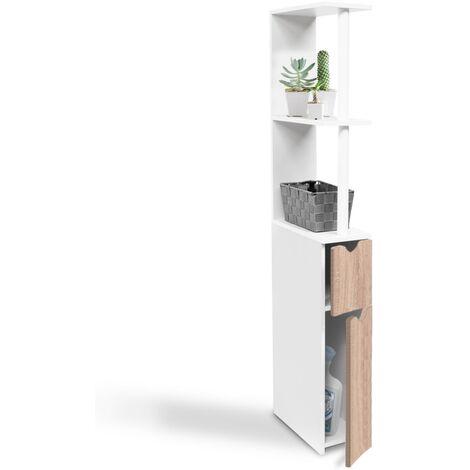 Meuble WC étagère bois gain de place pour toilette 2 portes hêtre