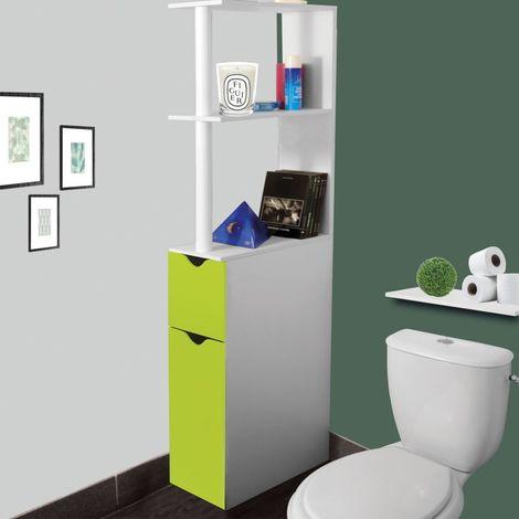 Meuble WC étagère bois gain de place pour toilette 2 portes vertes