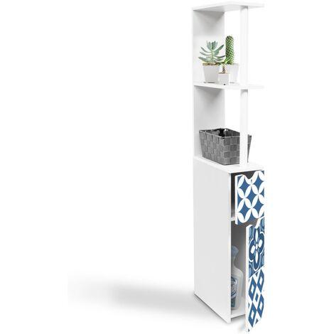 """main image of """"Meuble WC étagère WILLY 2 portes motif carreaux de ciment bleu"""""""