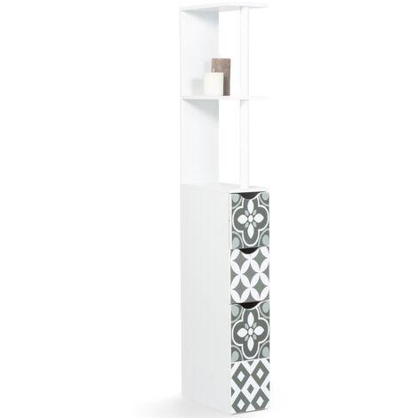 """main image of """"Meuble WC étagère WILLY 3 portes motif carreaux de ciment gris"""""""