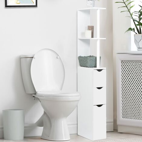 Meuble WC étagère WILLY bois 3 portes blanc gain de place pour toilettes