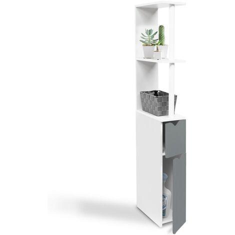 Meuble WC étagère WILLY bois gain de place pour toilette 2 portes grises