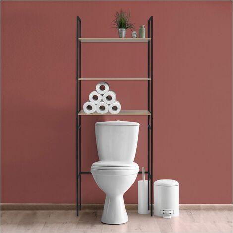 Meuble WC - Pont de rangement étagère WC Bois et Métal - SAO - Bois Clair