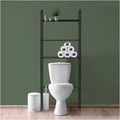 Meuble WC - Pont de rangement étagère WC en Métal Noir - KALI - Noir