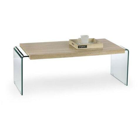 MEUBLER DESIGN Table Basse Verre Et Bois Glori, Verre, Bois, Rectangulaire, Style Contemporain, 120 x 60 x 42 cm - Marron / Transparent
