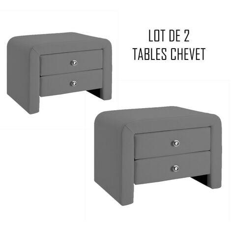 MEUBLER DESIGN Table Chevet Design Gris Eva X2, Polyuréthane, Rectangulaire, Style Contemporain, 50 x 38 x 37 cm - Gris