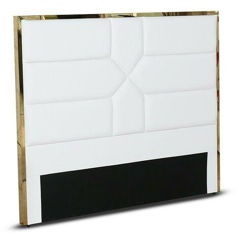 MEUBLER DESIGN Tête De Lit Design Effet Laiton Dalia - Noir - 160 Cm, Polyuréthane, Rectangulaire, Style Art déco, 170 x 8 x 140 cm - Noir