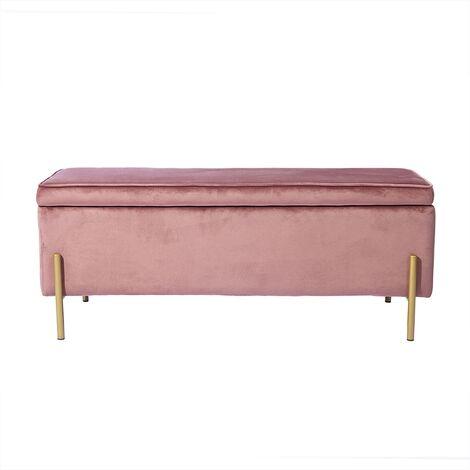 MEUBLES COSY Banc Coffre - Banquette coffre avec rangement canapé Style Contemporain - velours Gris et métal doré - L105 x P44 x H44cm - GRIS