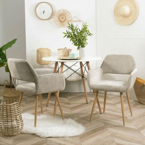 MEUBLES COSY Lot de 2 fauteuils chaises - Tissu Beige – Pieds métal effet bois –Style Scandinave – Salle à manger, bureau, salon - BEIGE