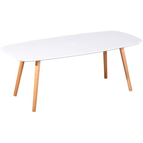 MEUBLES COSY Table basse en bois massif - table basse de salon blanche- 110x50x40cm Design Scandinave - BLANC