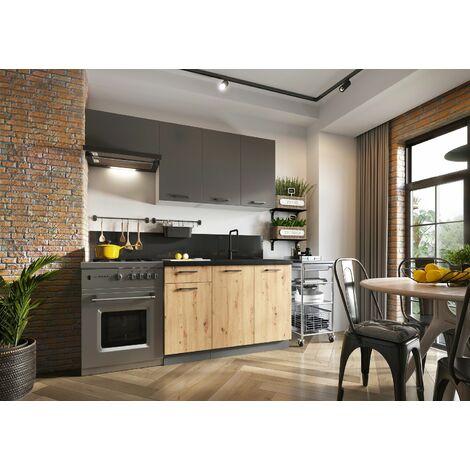 Meubles Cuisine complète CLARA gris chêne mat - 2m40 - 8 meubles - MOINSCHERCUISINE - GRIS ET CHENE