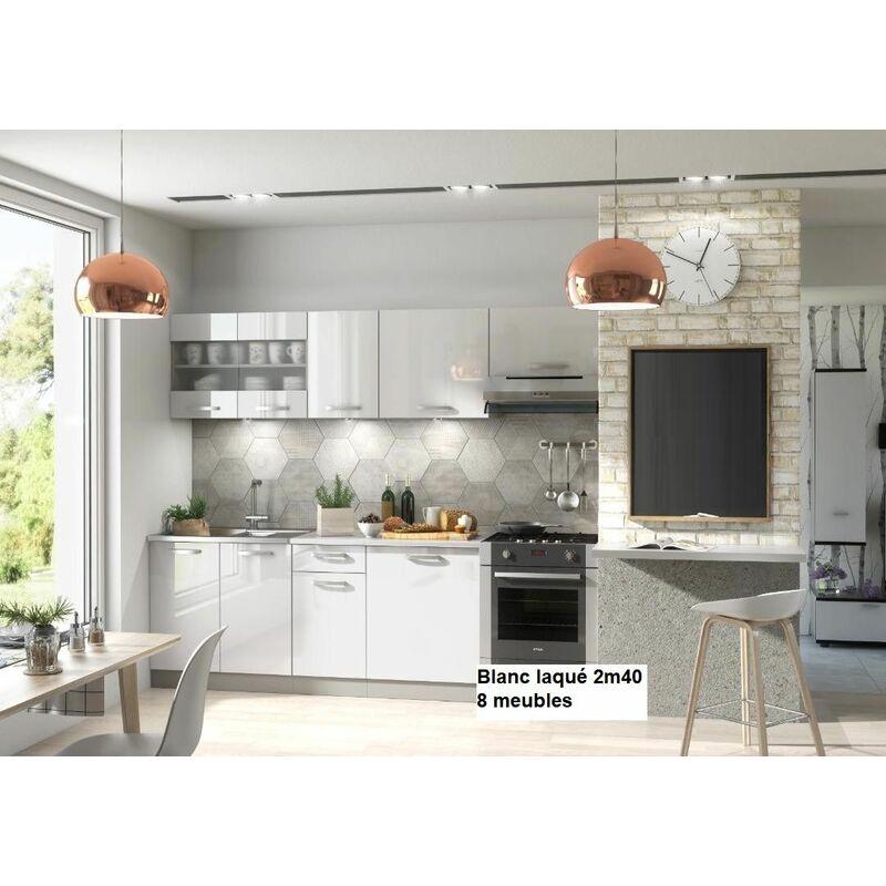 Meuble Bas De Cuisine Noir Laqué meubles cuisine complète dana laqué - 2m40 - 8 meubles