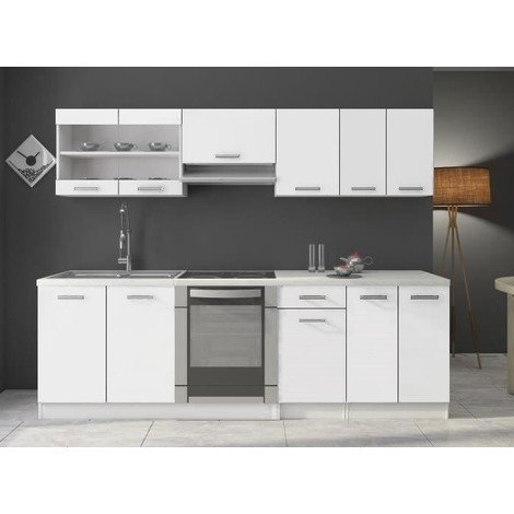 meubles cuisine compl te dana blanc laqu 2m40 8. Black Bedroom Furniture Sets. Home Design Ideas