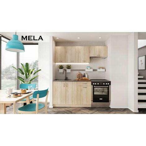 Meubles Cuisine Complete Mela Chene Clair Sonoma 1m80 5 Meubles