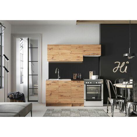 Meubles Cuisine complète MELA chêne clair aspect blanchi 2m40 - 7 meubles - MOINSCHERCUISINE - CHENE CLAIR BLANCHI