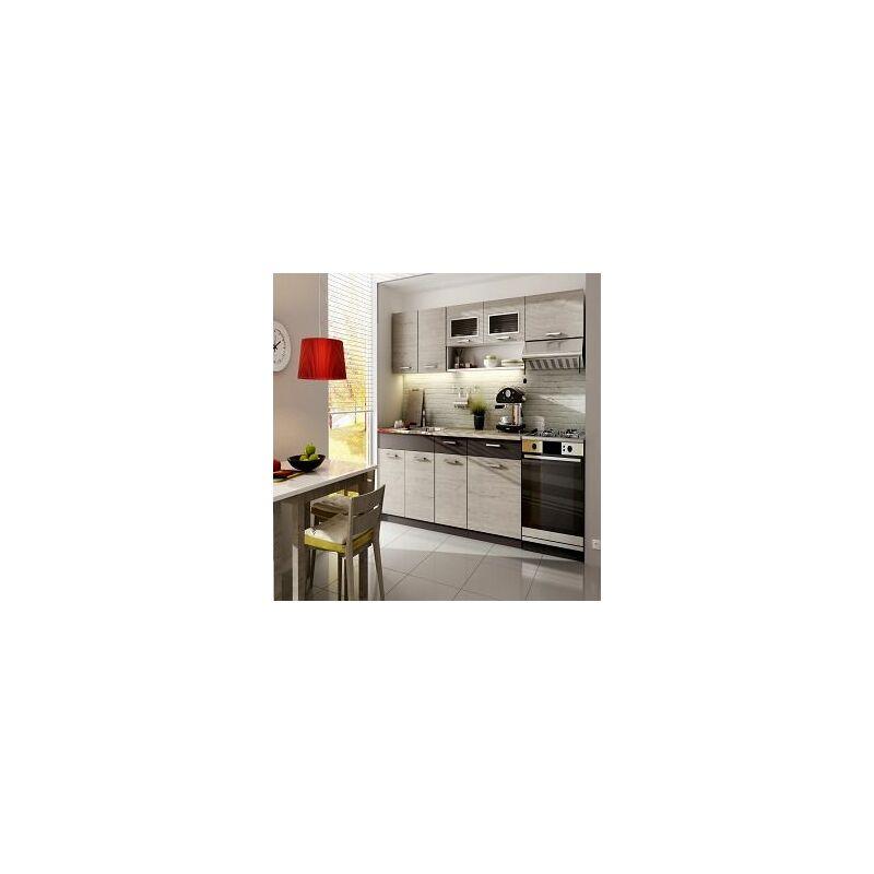 Cuisine complète LIVRAISON GRATUITE - MORENO chêne cendré - 2m40 - 6 meubles - MOINSCHERCUISINE - CHENE cendré