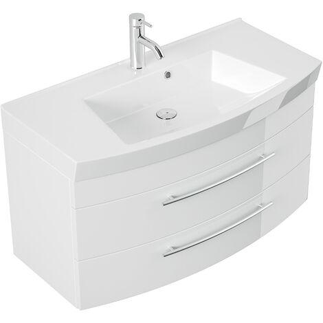 Meubles de salle de bain Bella 100cm avec façade arrondie en blanc brillant