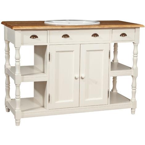Meubles de salle de bain en chaux solide bois antique blanc structure haut naturel finition Made in Italy