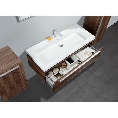 meubles de salle de bains n1200 noyer en option miroir. Black Bedroom Furniture Sets. Home Design Ideas