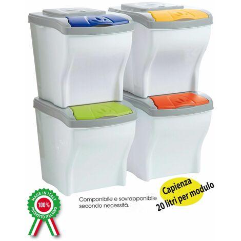 Meubles et poubelles, conteneurs modulaires 4 pièces x 20LT pour la collecte séparée des déchets et des ordures