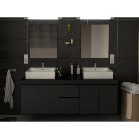 Meuble de salle de bain double vasque 150 cm Noir CORALIE - L 150 ...