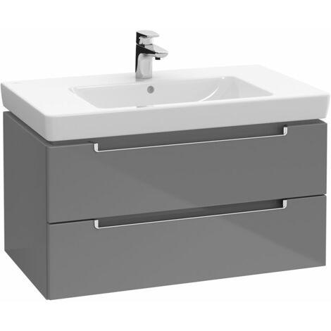 Meubles sous-lavabo Villeroy et Boch Subway 2.0 A689, Coloris: Gris brillant, Poignée : argent mat - A68900FP