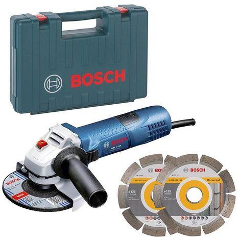 Meuleuse angulaire Ø125 mm avec 2 disques diamantés offerts - Bosch GWS 7-125