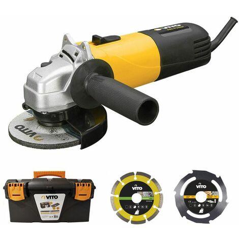 Meuleuse angulaire 850W 115mm VITO + Disque coupe bois et PVC + Disque Diamant laser + Boîte à outils