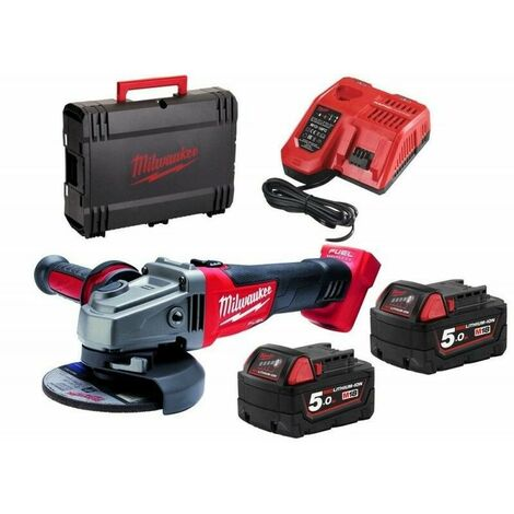 Meuleuse d'Angle 18V / 125mm + 2 batteries 18V 5Ah, chargeur, en HD Box - Milwaukee - M18 CAG125X-502X