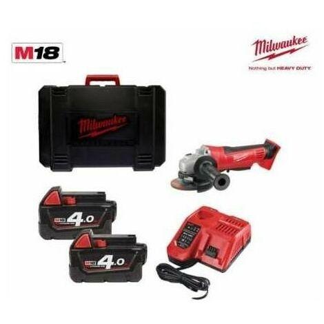 Meuleuse d'angle MILWAUKEE 18V 125mm, 2 batteries 4Ah, chargeur, en coffret - HD18 AG125-402C