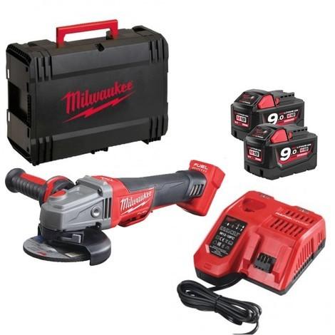 Meuleuse d'angle MILWAUKEE M18 CAG125XPDB-902C - 18V 9.0 Ah + 2 batteries, chargeur, en coffret - 4933451471