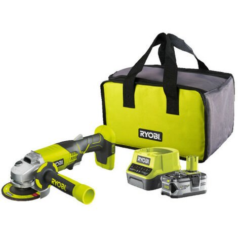 Meuleuse d'angle RYOBI 18V OnePlus R18AG-140S - Batterie Lithium-ion 4.0 Ah - Chargeur