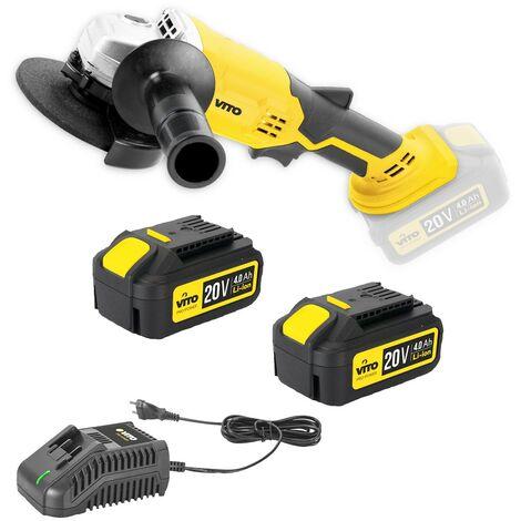 Meuleuse d'angle sans fil 20V VITOPOWER + 2 batteries 4.0 Ah + chargeur rapide