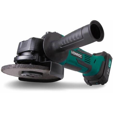 Meuleuse|Disqueuse sans fil VPower 20V, 2.0Ah - 115mm – lot complet avec batterie, chargeur rapide, poignée latérale et sac de rangement