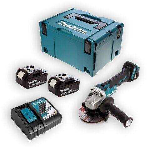 Meuleuse MAKITA 18V Li-Ion 5.0 Ah Ø125mm - 2 batterie, chargeur, en coffret - DGA506RTJ