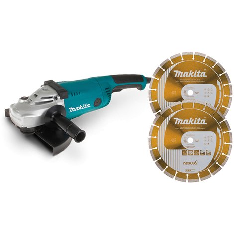 Meuleuse MAKITA Ø230 mm 2200W + 2 Disques diamant NEBULA 230mm - LOT0131
