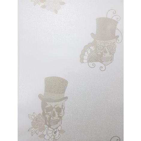 Mexican Sugar Skulls Glitter Wallpaper White Gold Metallic Textured Vinyl Rasch