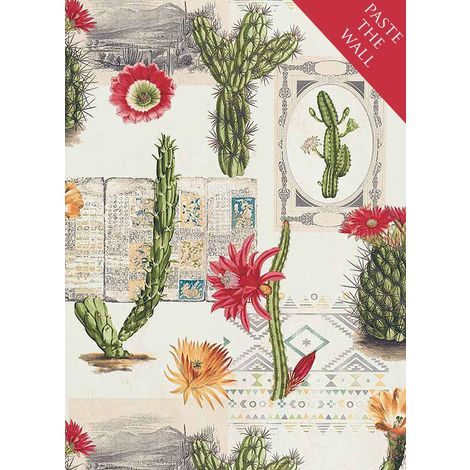 Mexico Floral Cactus Wallpaper Flowers Cream Green Red Ethno Paste Wall Vinyl