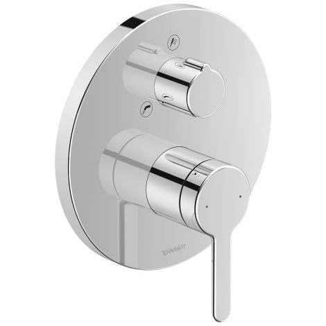 Mezclador de bañera monomando Duravit C.1 empotrado, roseta redonda, 2 consumidores, salida de bañera transformable / ducha manual - C15210012010