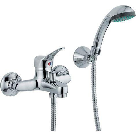 Mezclador de bañera Onda de latón cromado con ducha de mano y manguera flexible | Cromado