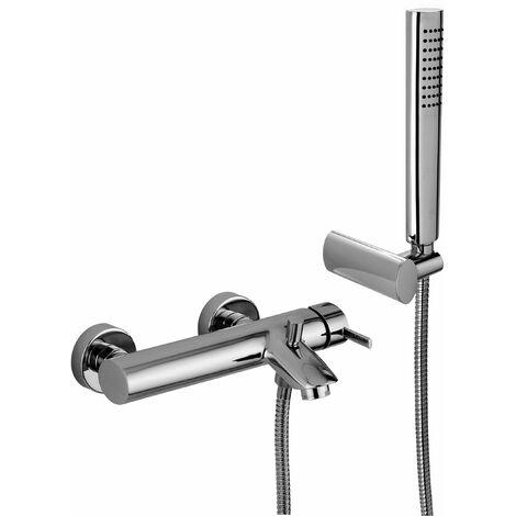 Mezclador de baño con juego de ducha Paffoni Berry BR023 | Cromo - Con set de ducha