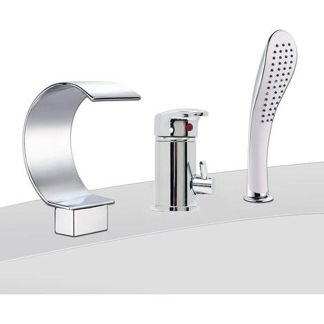 Mezclador de baño de 3 orificios ducha y ducha bañera Cromado