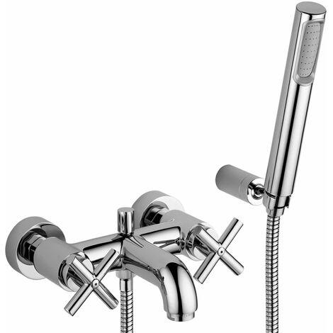 Mezclador de baño externo con juego de ducha y soporte de pared Paffoni QTV023CR   Cromo